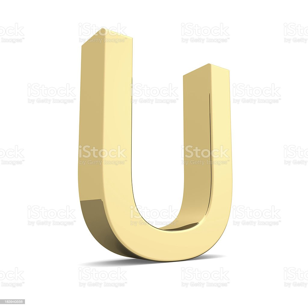Gold letter U royalty-free stock photo