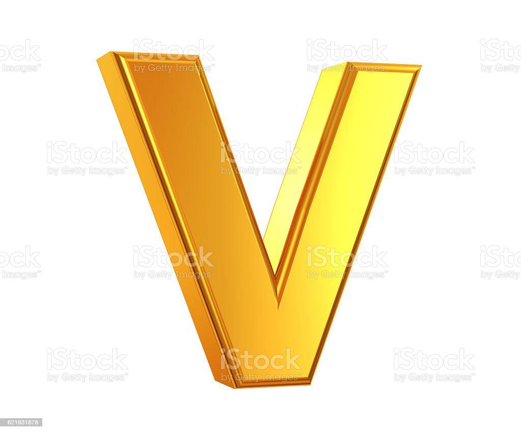 Gold Letter V stock photo