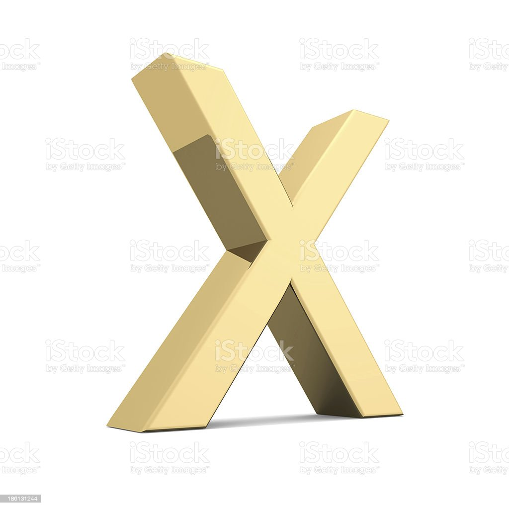 Gold letter X royalty-free stock photo