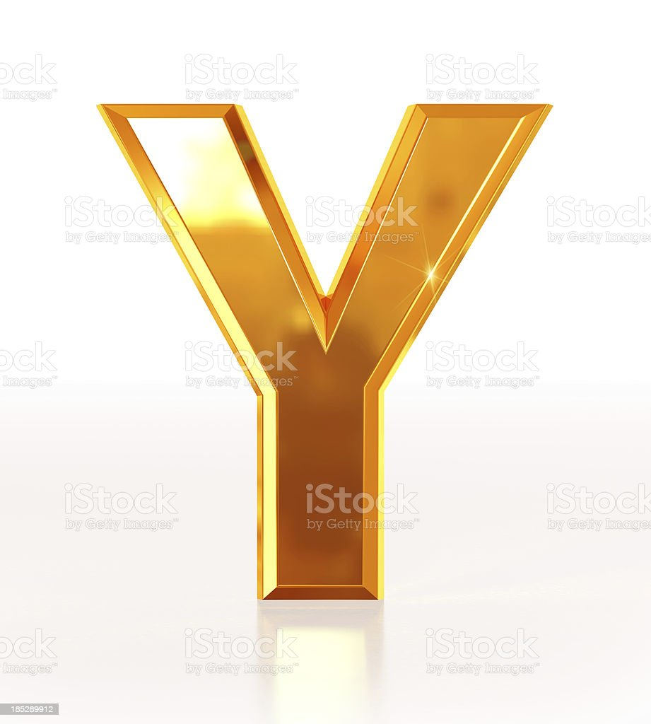 Gold Letter Y royalty-free stock photo