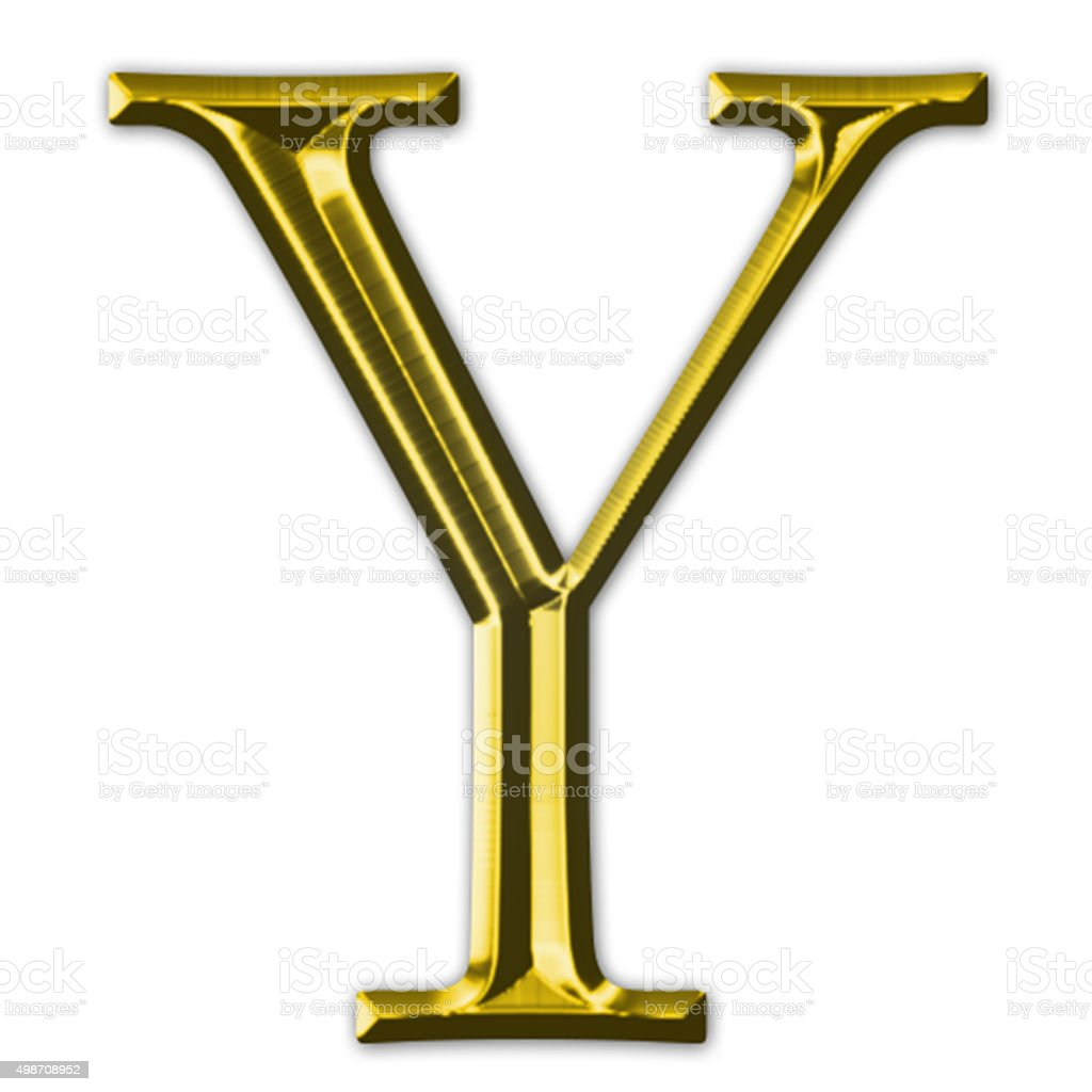 Gold letter Y stock photo