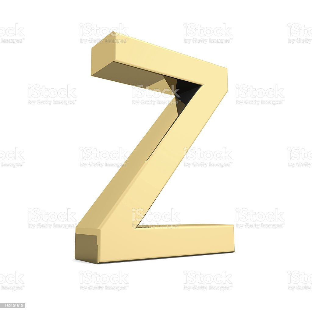 Gold letter Z royalty-free stock photo