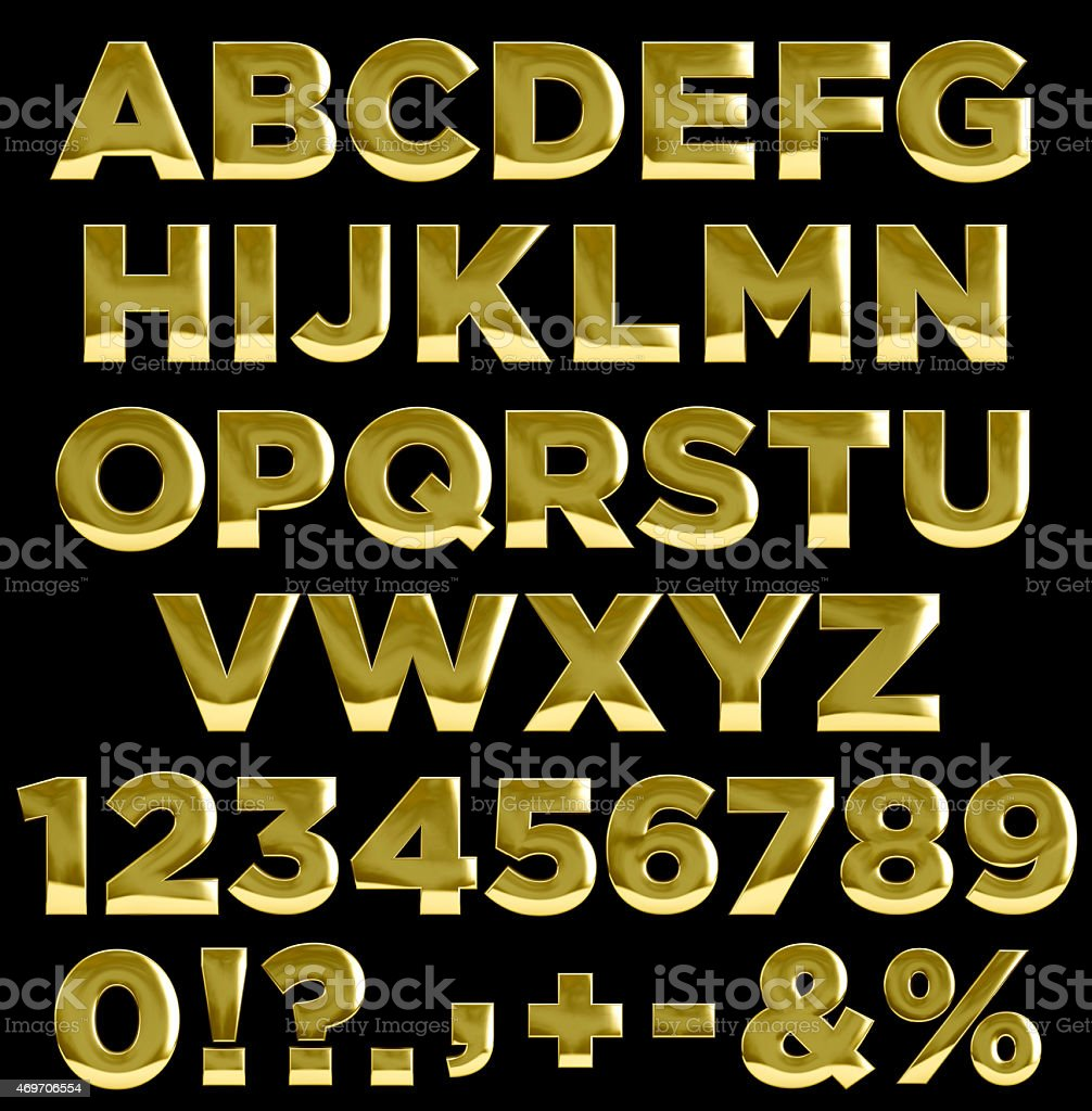Gold letters and numbers alphabet stock photo