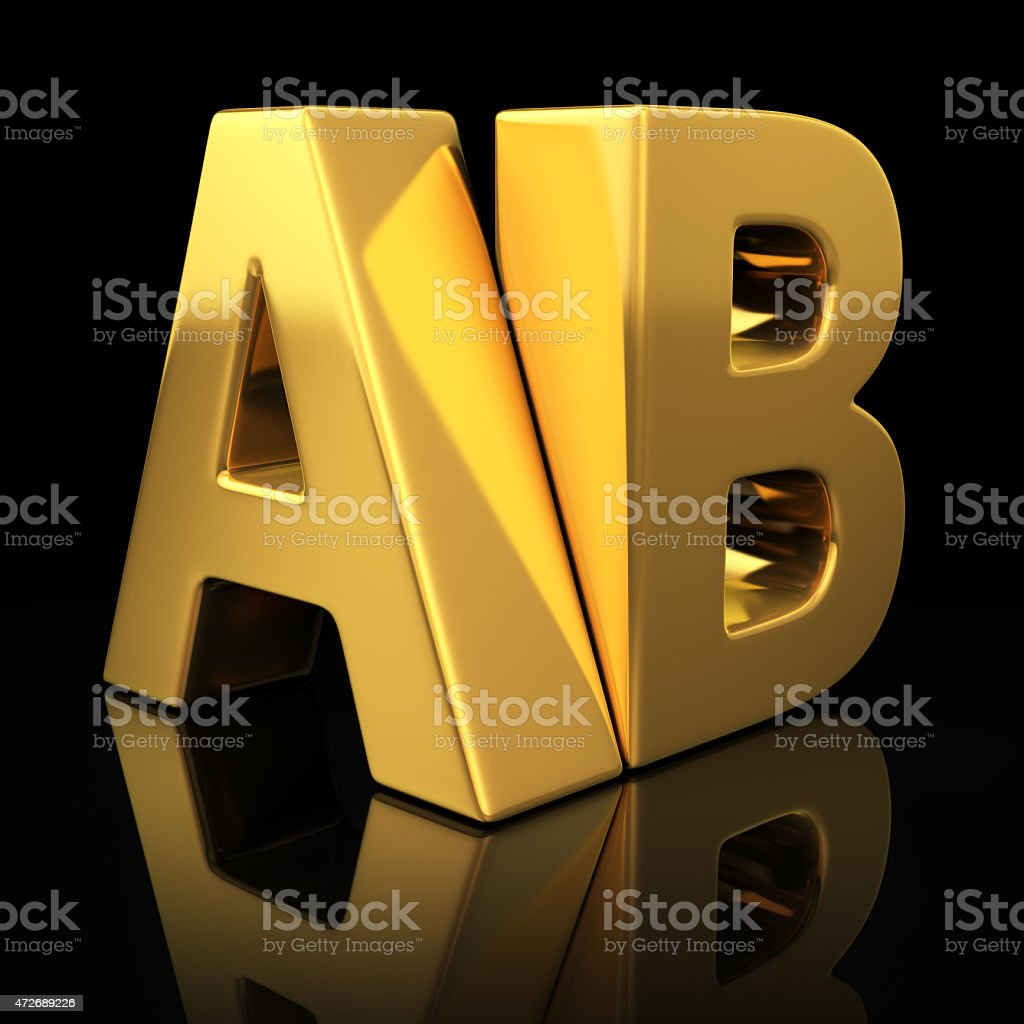 AB gold letters stock photo