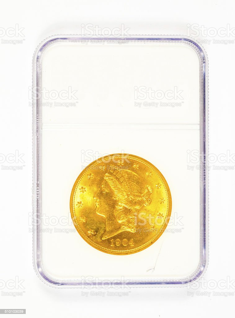 Gold Liberty Head Coin in Case stock photo