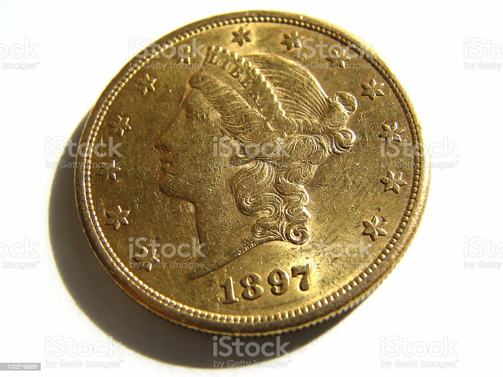 Gold Liberty Twenty Dollar Coin from 1897 royalty-free stock photo