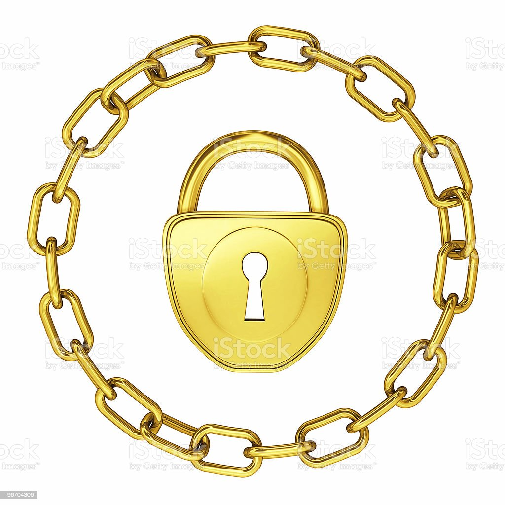 gold lock with chain isolated security illustration royalty-free stock photo