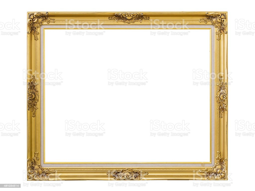 Gold louise photo frame over white background,isolated object stock photo