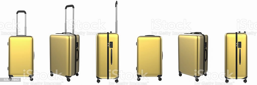 gold luggages in a row stock photo