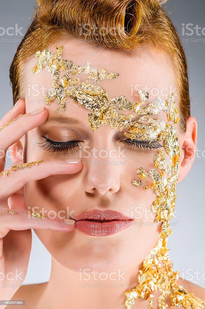 Gold Make Up stock photo