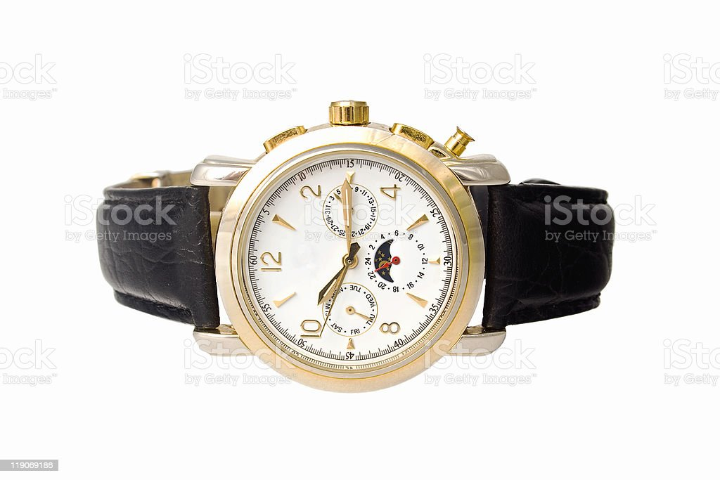 gold man watch with calendar on a leather belt stock photo