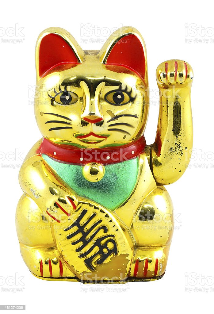 Gold Maneki Neko Japan Lucky Cat, Isolated with Clipping path stock photo