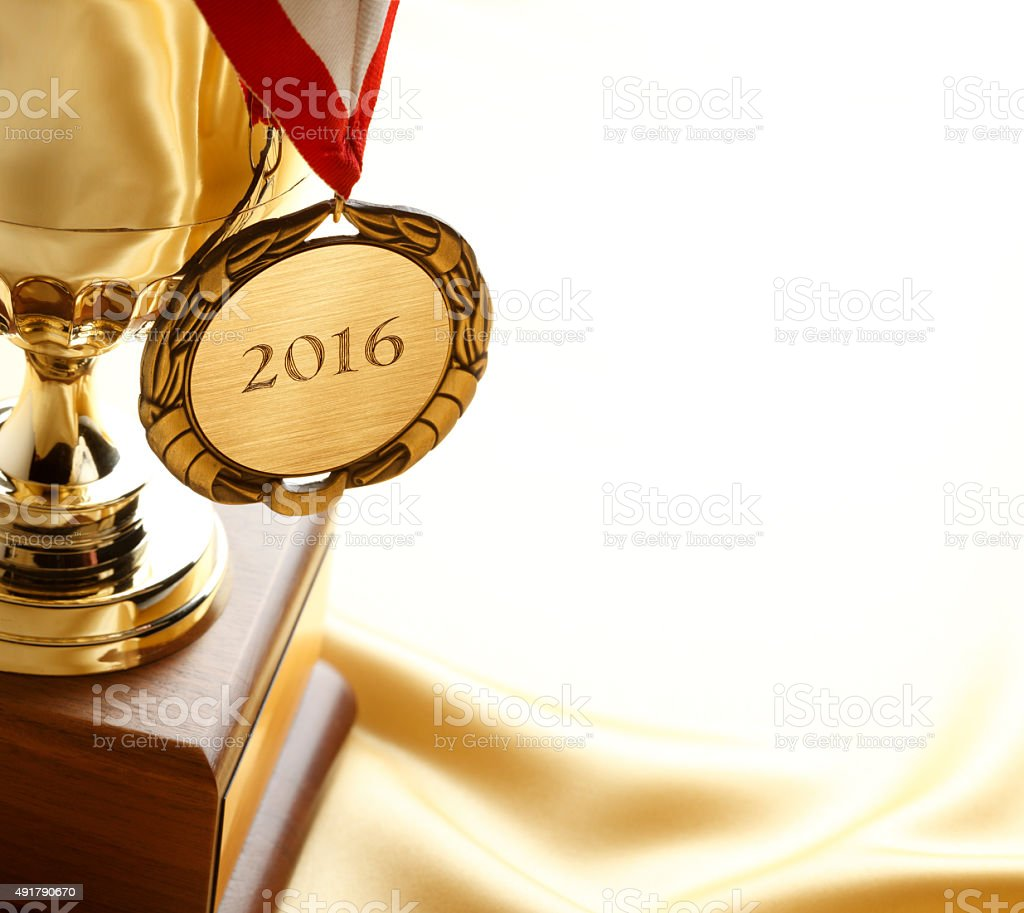 Gold Medal and Trophy With Year 2016 stock photo