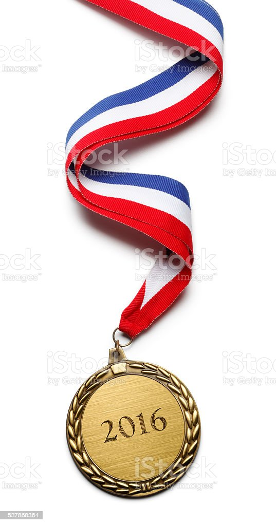 Gold Medal Attached To A Ribbon Inscribed With 2016 stock photo
