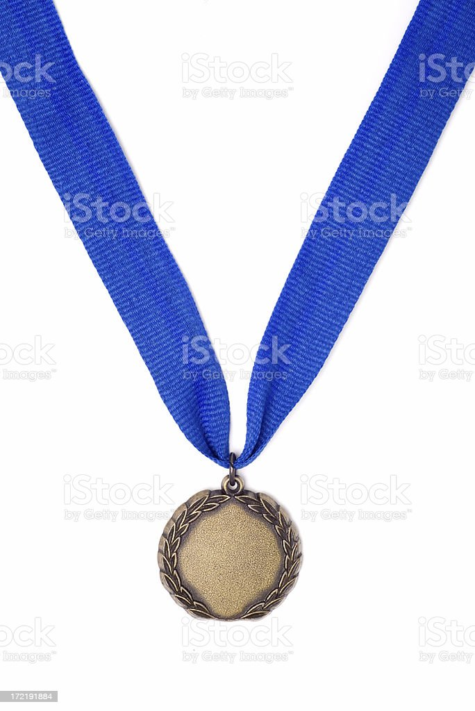 Gold Medal Award on a Blue Ribbon royalty-free stock photo