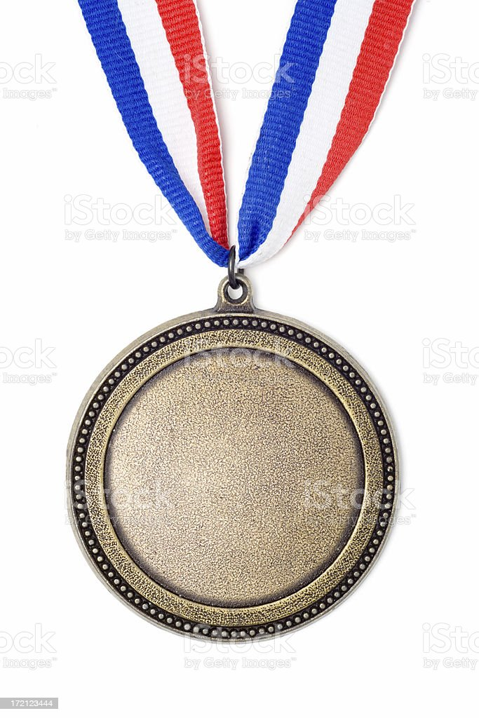 Gold medal award on red, white and blue ribbon stock photo