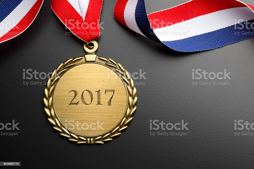 Gold Medal Engraved With 2017 stock photo