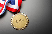 Gold Medal Engraved With The Year 2016