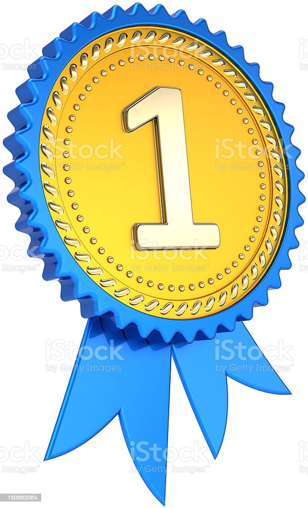 Gold medal first place award ribbon. Number one champion trophy stock photo