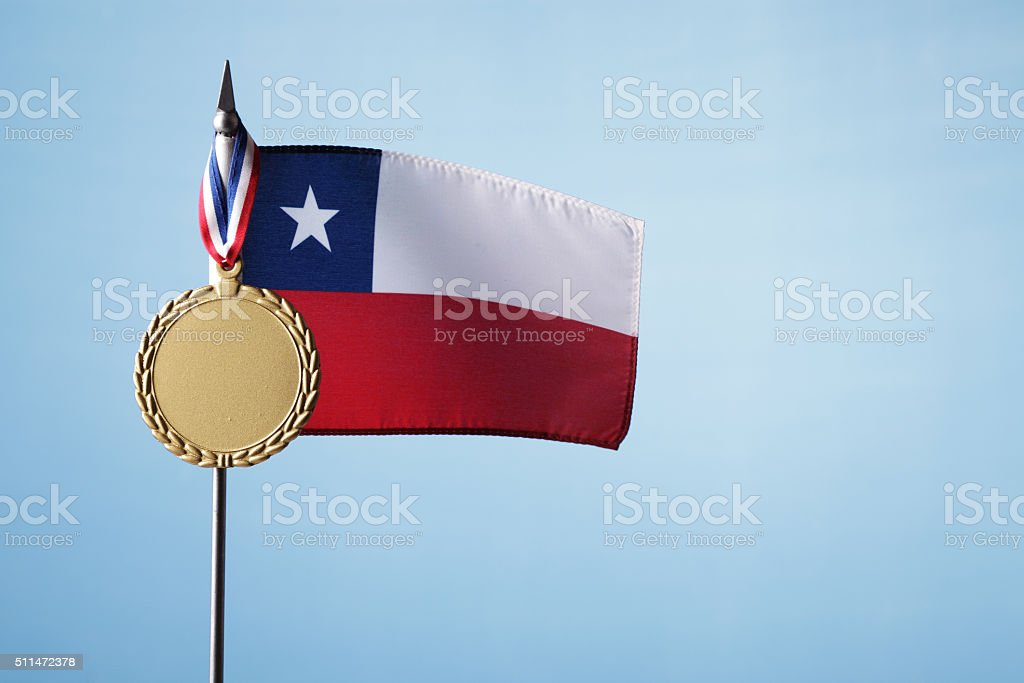 Gold Medal for Chile stock photo
