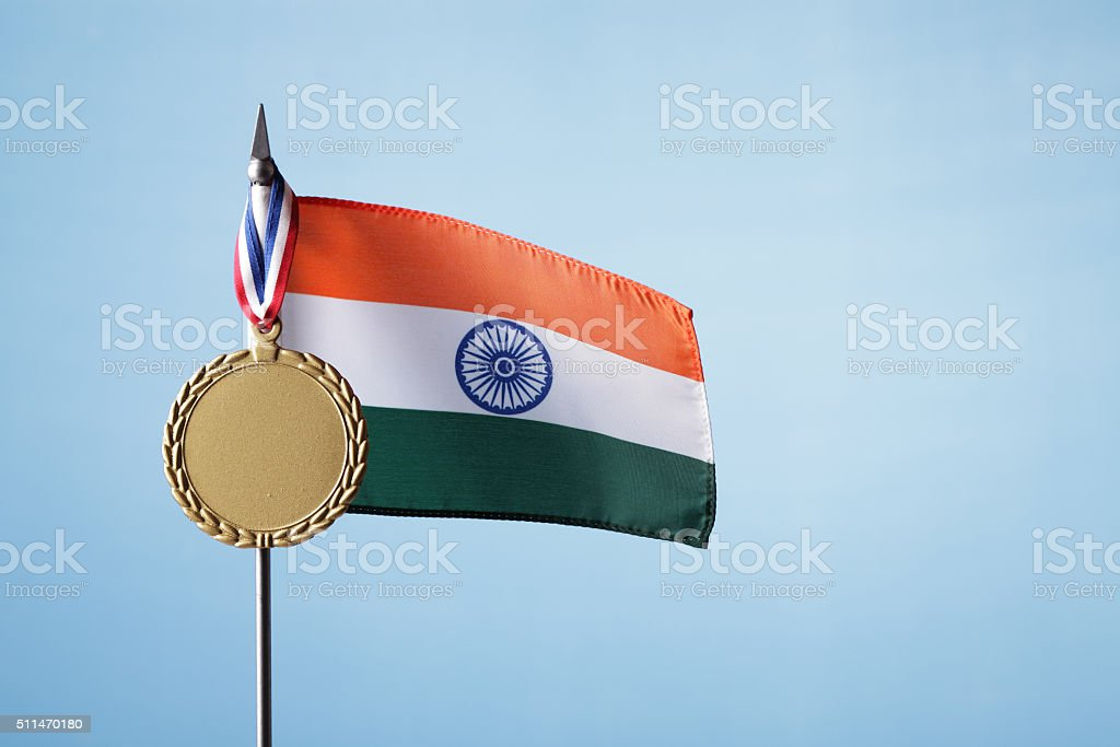 Gold Medal for India stock photo