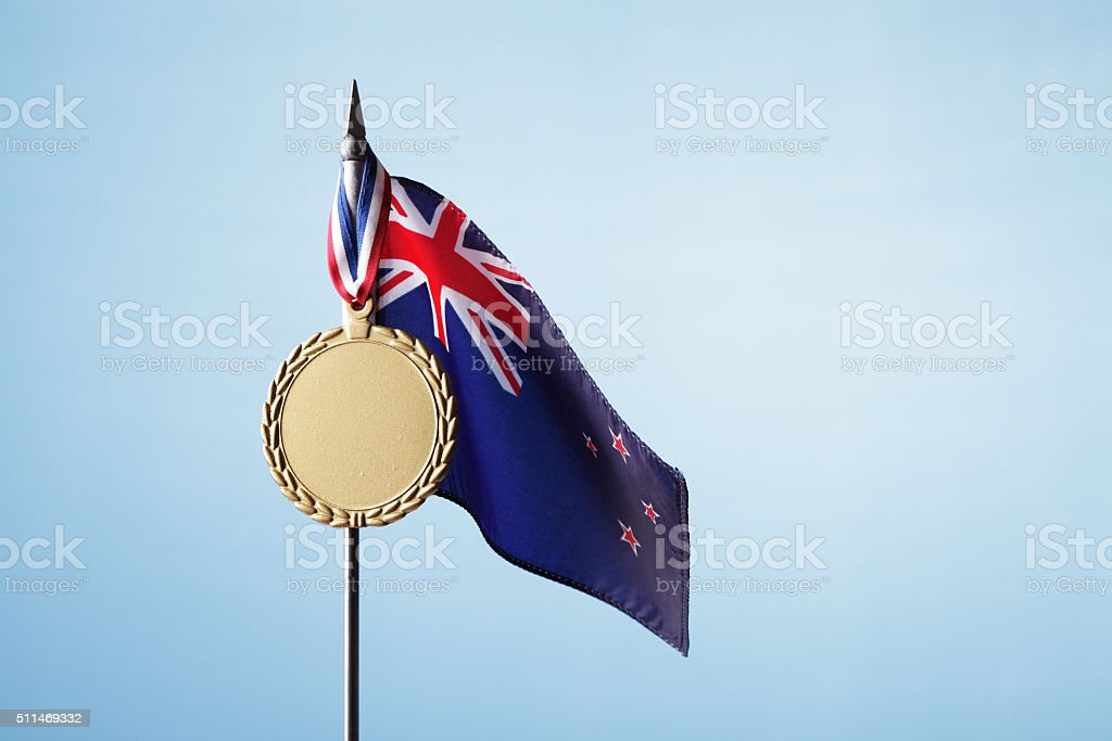 Gold Medal for New Zealand stock photo