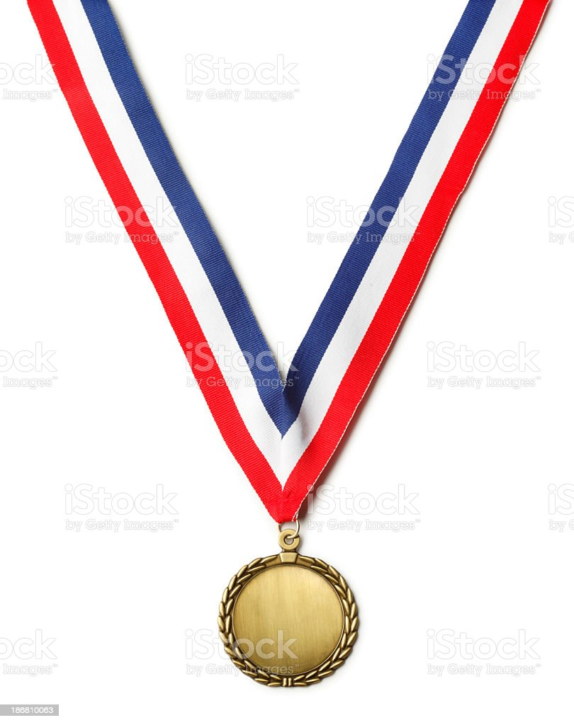 Gold Medal Hanging from Ribbon on White Background stock photo