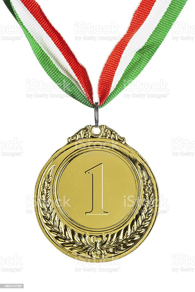 Gold medal isolated on white royalty-free stock photo