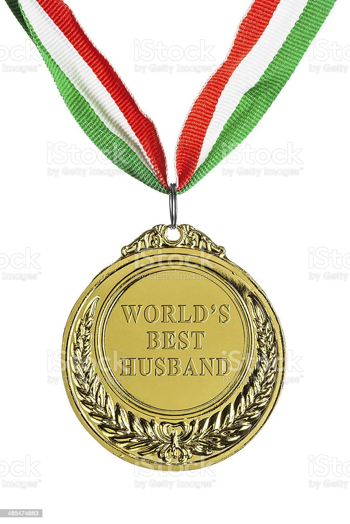 Gold medal isolated on white: World's best husband stock photo