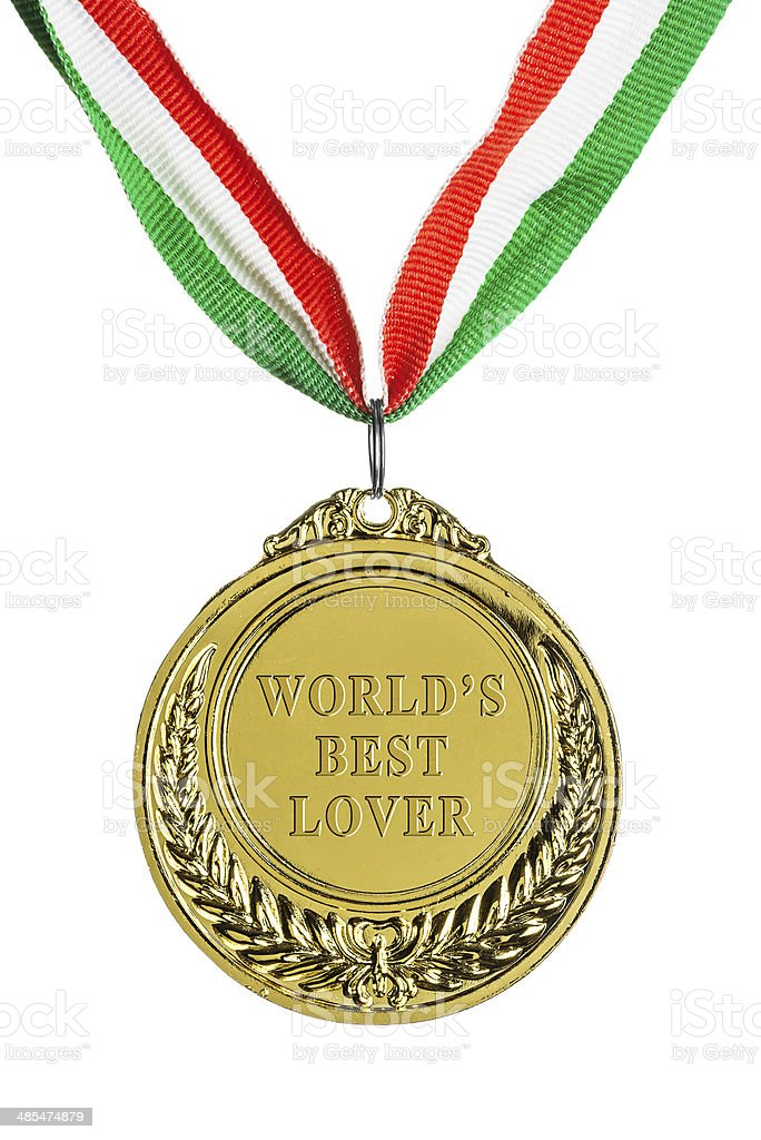 Gold medal isolated on white: World's best lover stock photo
