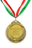 Gold medal isolated on white: World's best lover