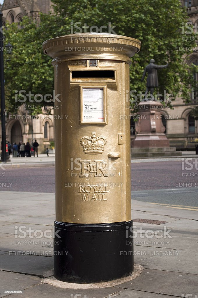 Gold Medal Mail Box Manchester, England royalty-free stock photo