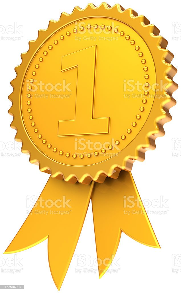 Gold medal number one award ribbon first place golden symbol stock photo