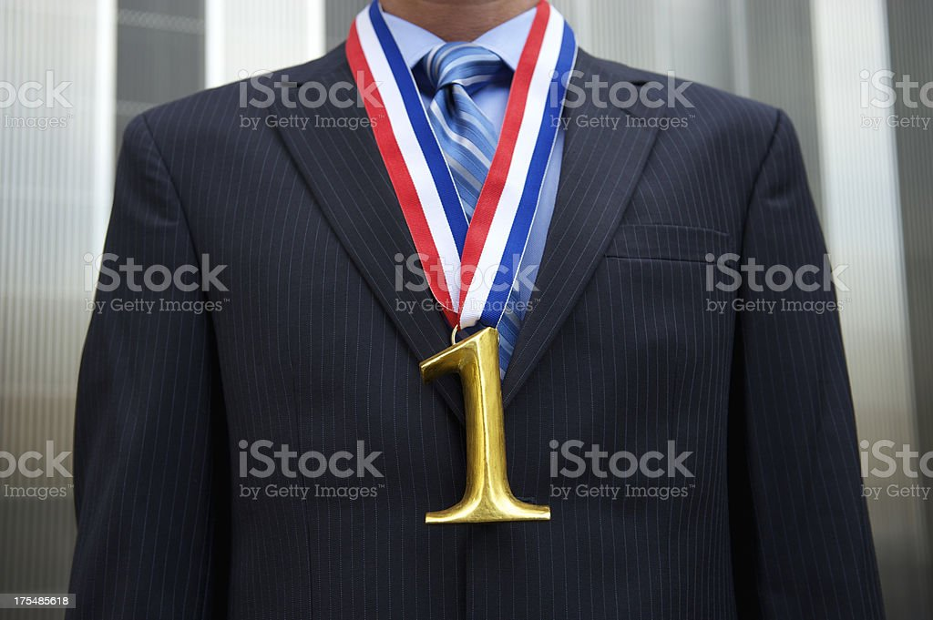 Gold Medal Number One Businessman royalty-free stock photo