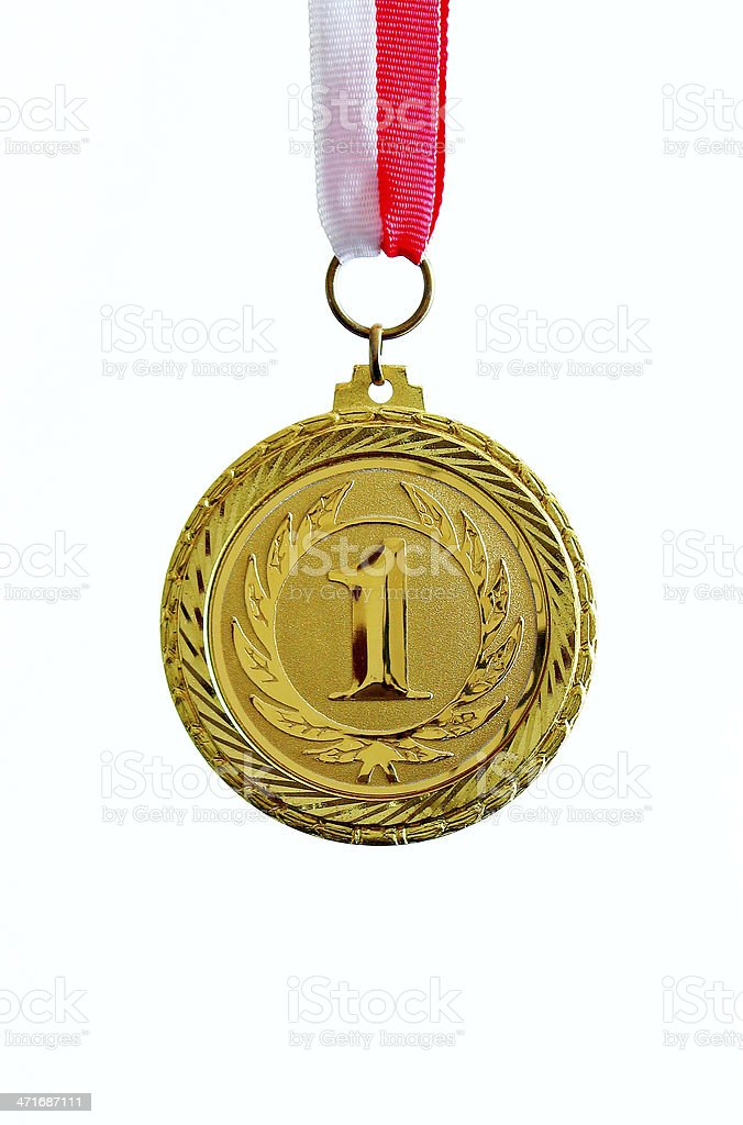 Gold Medal, number one royalty-free stock photo