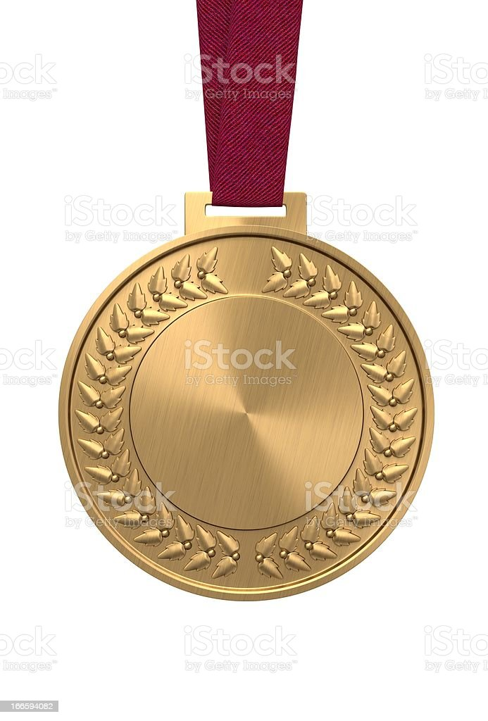 Gold medal on a red ribbon stock photo