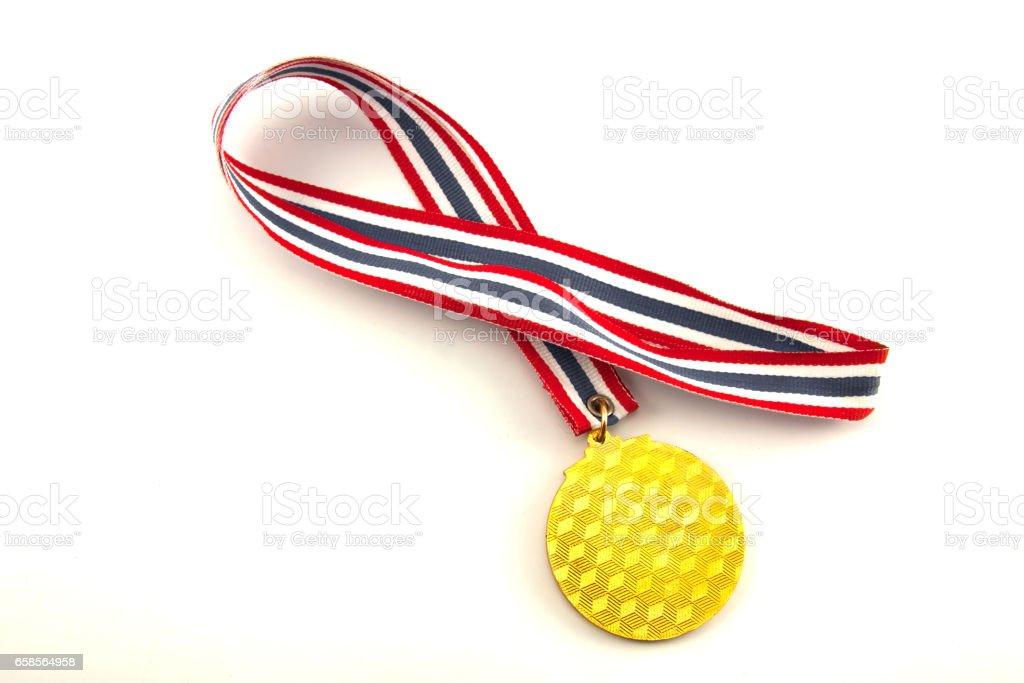 Gold medal on the white background stock photo