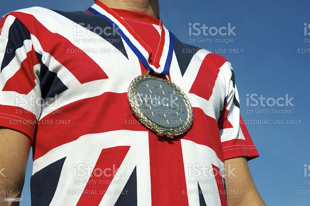 Gold Medal Union Jack British Flag T-Shirt stock photo