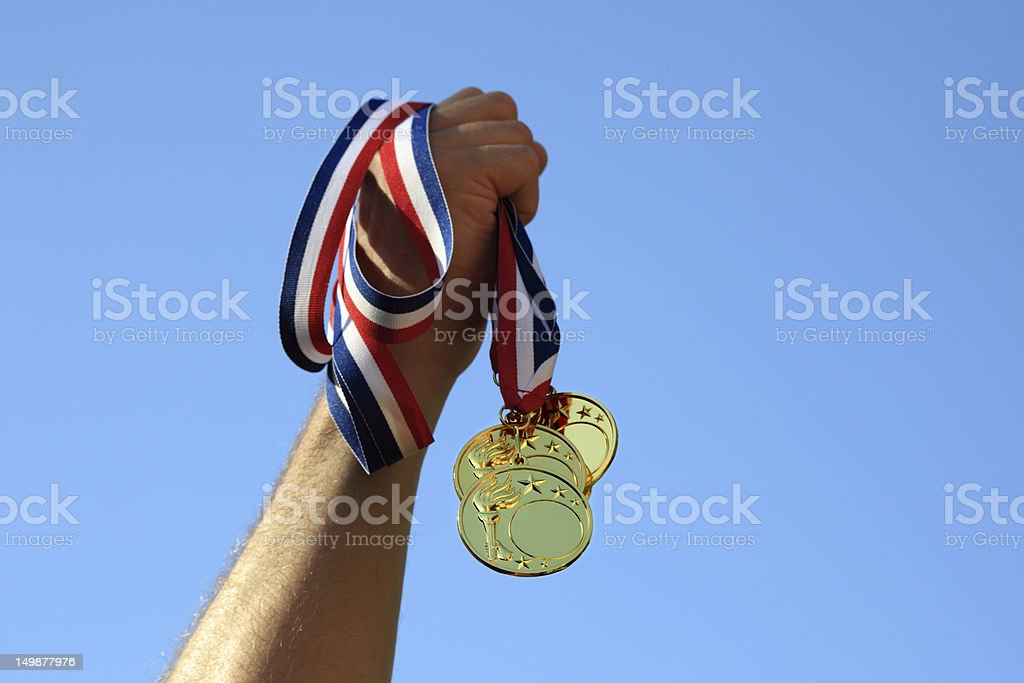 Gold medal winner stock photo