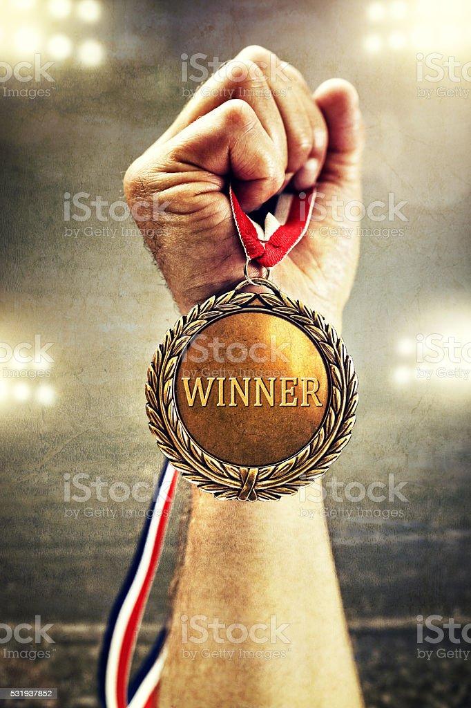 Gold medal winner stock photo