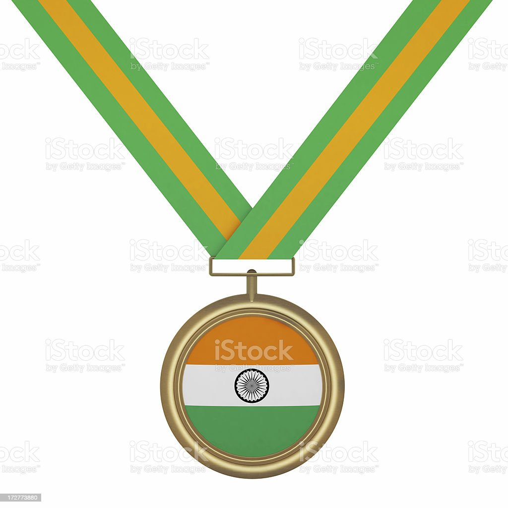 Gold Medal with India Flag royalty-free stock photo