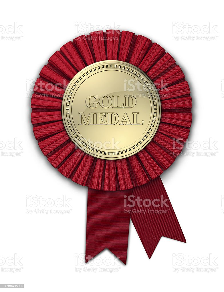 Gold Medal with Red Ribbon royalty-free stock photo