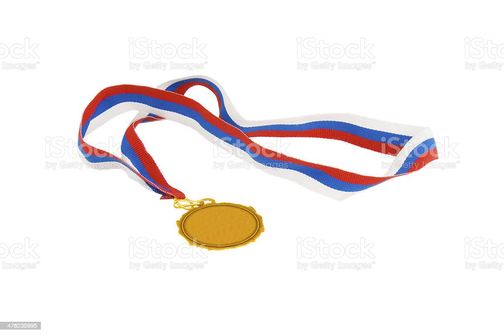 gold medal with tricolor ribbon royalty-free stock photo