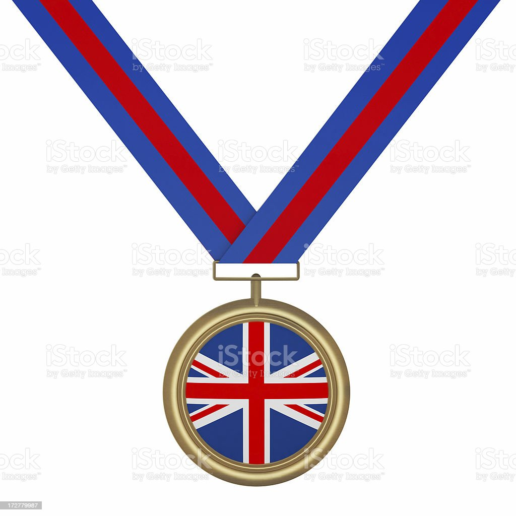 Gold Medal with UK Flag royalty-free stock photo