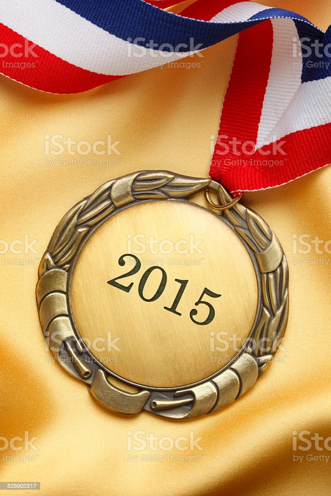 Gold Medal With Year 2015 Engraved On It stock photo