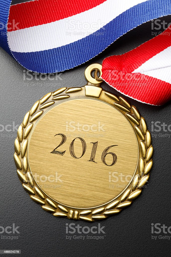 Gold Medal With Year 2016 Engraved On It stock photo