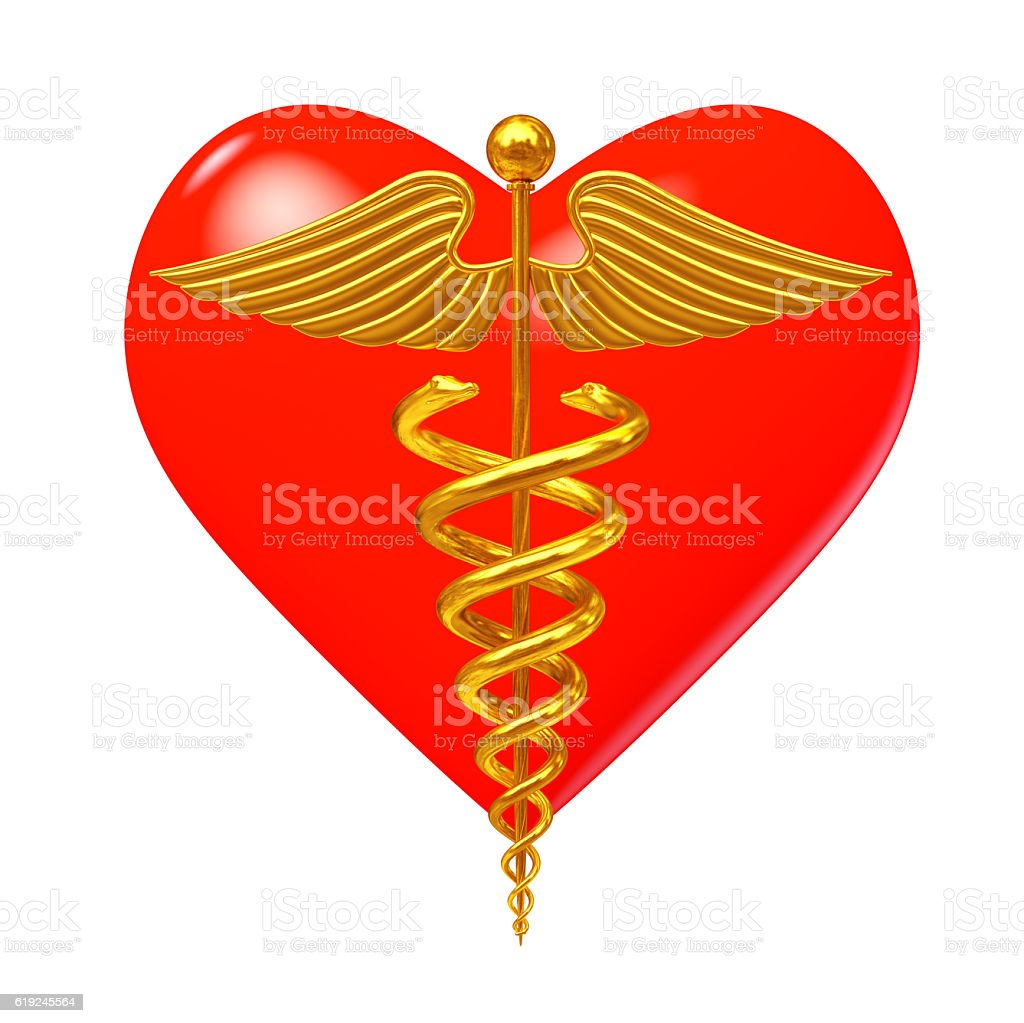 Gold Medical Caduceus Symbol in front of Red Heart. stock photo