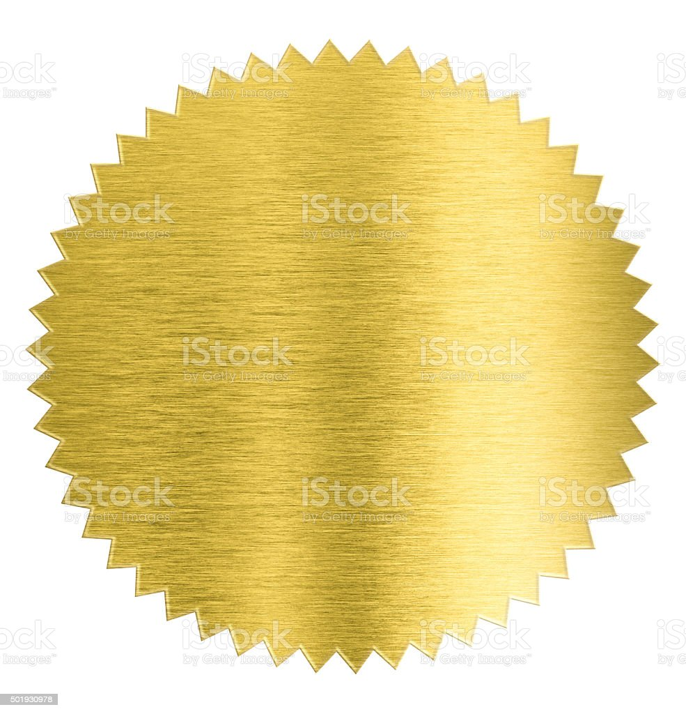 gold metal foil sticker seal isolated with clipping path included stock photo