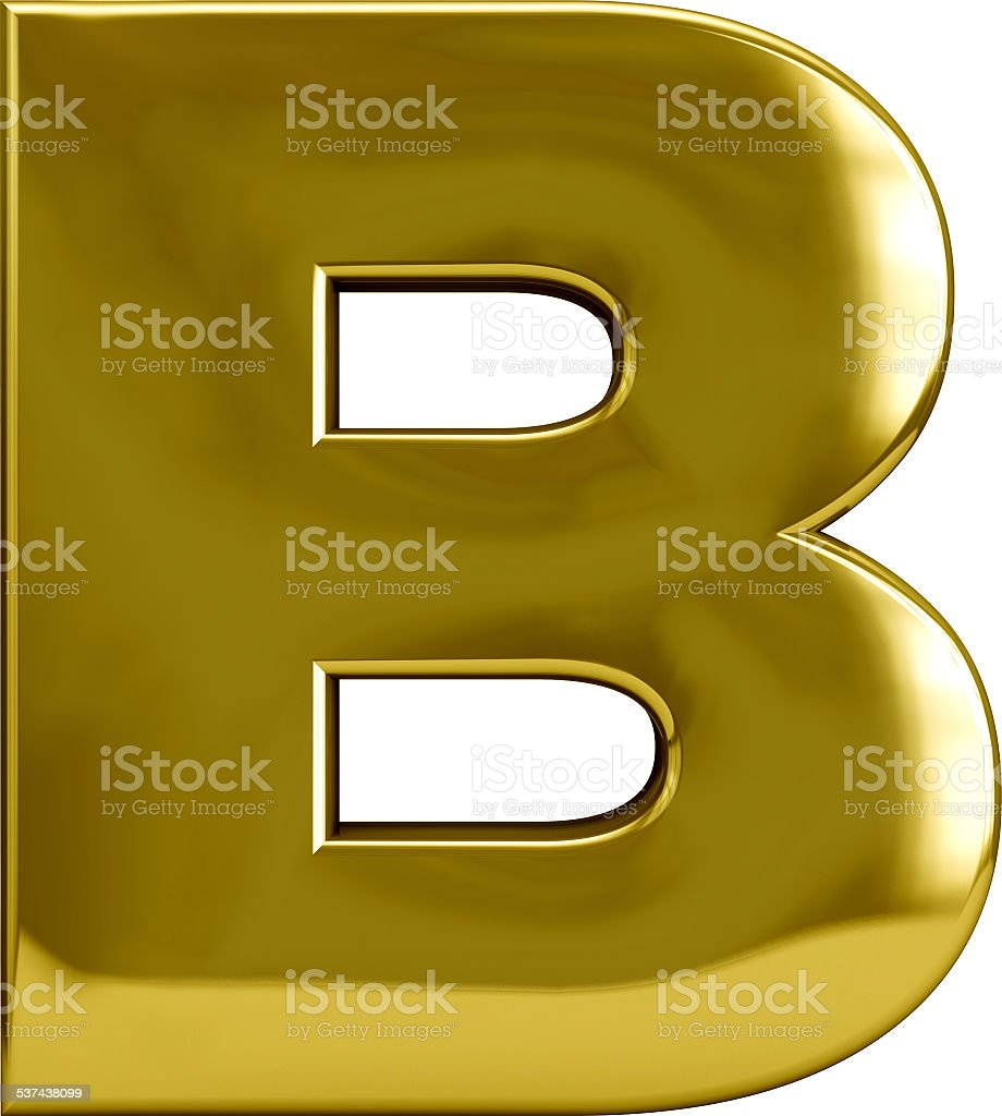 Gold Metal Letter B stock photo