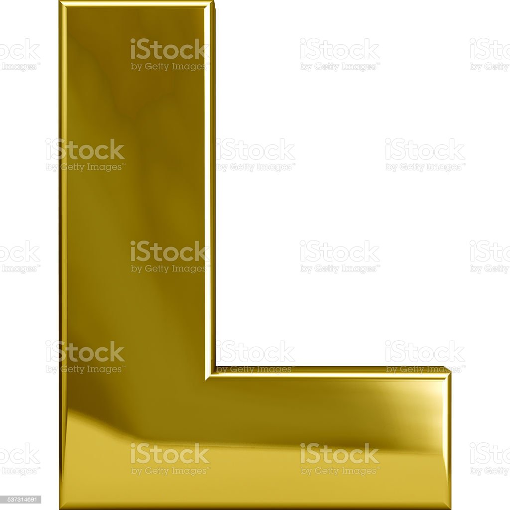 Gold Metal Letter L stock photo
